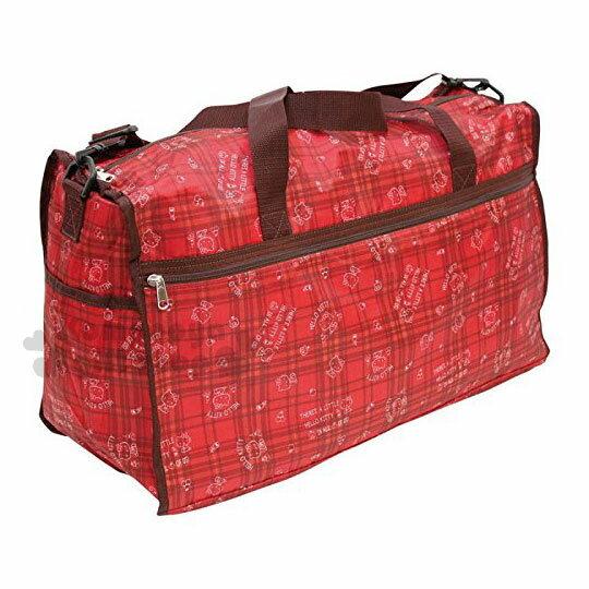 〔小禮堂〕Hello Kitty 兩用尼龍行李袋《紅.格紋.滿版》旅行袋.媽媽包.側背袋 0