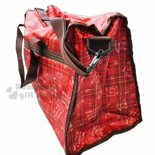 〔小禮堂〕Hello Kitty 兩用尼龍行李袋《紅.格紋.滿版》旅行袋.媽媽包.側背袋 1