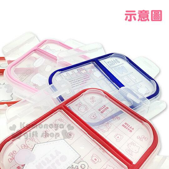 〔小禮堂〕Hello Kitty 分隔耐熱玻璃保鮮盒《紅邊.口袋.蘋果》520ml.微波便當盒 3