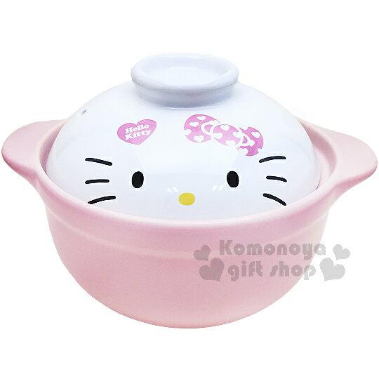〔小禮堂〕Hello Kitty 高耐熱陶瓷鍋《粉.大臉》1500ml.砂鍋.湯鍋