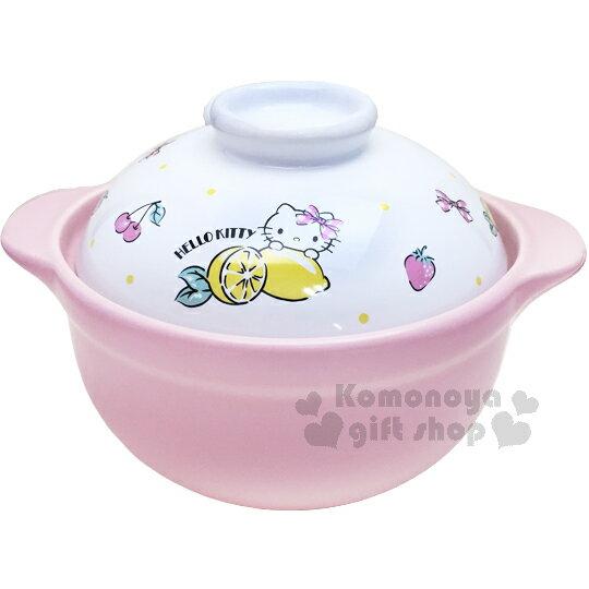 〔小禮堂〕Hello Kitty 高耐熱陶瓷鍋《粉.水果》1500ml.砂鍋.湯鍋 0