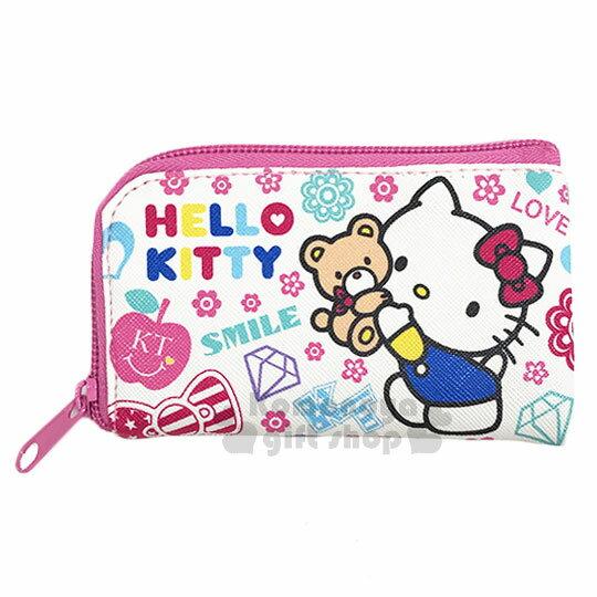 〔小禮堂〕Hello Kitty 皮質L型拉鍊鑰匙包~白.抱小熊.滿版~零錢包.收納包