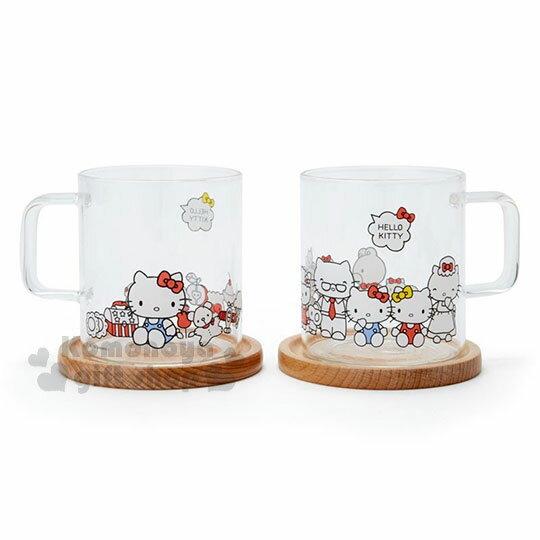 〔小禮堂〕Hello Kitty 玻璃馬克杯組《2入.透明》精緻盒裝.歡樂一家親系列 0