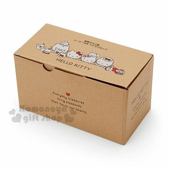 〔小禮堂〕Hello Kitty 玻璃馬克杯組《2入.透明》精緻盒裝.歡樂一家親系列 5