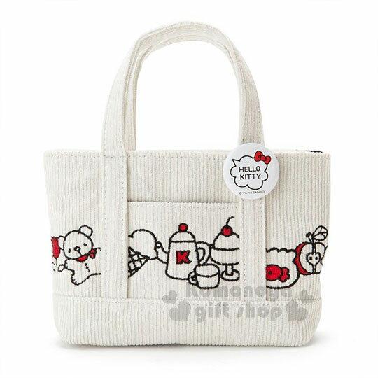 〔小禮堂〕Hello Kitty 迷你帆布刺繡手提包《白.大臉》化妝包.收納包.歡樂一家親系列 0