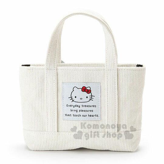 〔小禮堂〕Hello Kitty 迷你帆布刺繡手提包《白.大臉》化妝包.收納包.歡樂一家親系列 1