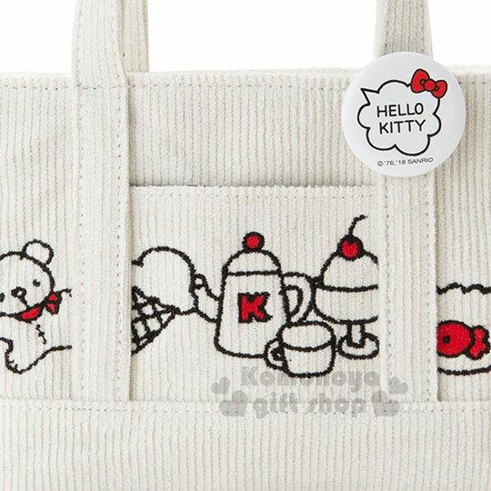 〔小禮堂〕Hello Kitty 迷你帆布刺繡手提包《白.大臉》化妝包.收納包.歡樂一家親系列 3