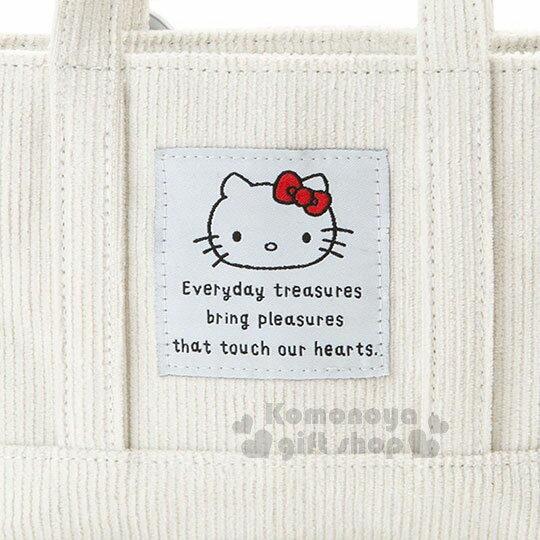 〔小禮堂〕Hello Kitty 迷你帆布刺繡手提包《白.大臉》化妝包.收納包.歡樂一家親系列 4