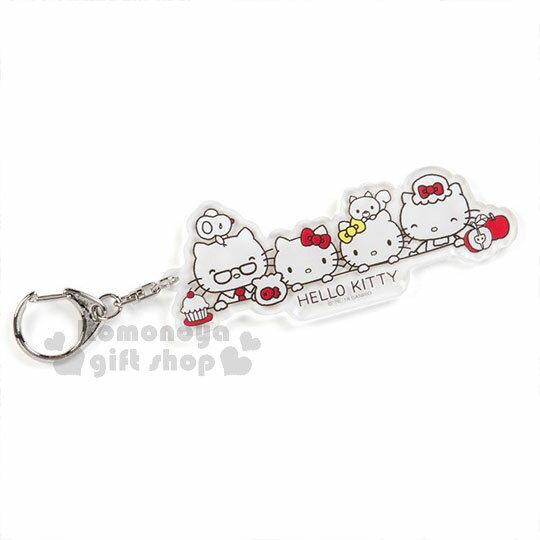 〔小禮堂〕Hello Kitty 造型透明壓克力鑰匙圈《大臉》掛飾.吊飾.歡樂一家親系列 0