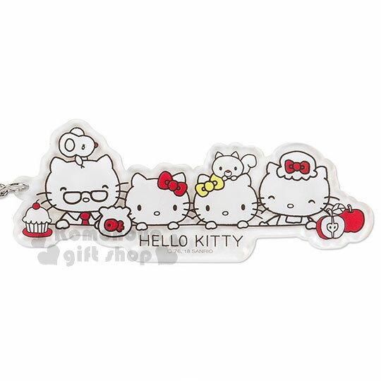 〔小禮堂〕Hello Kitty 造型透明壓克力鑰匙圈《大臉》掛飾.吊飾.歡樂一家親系列 1