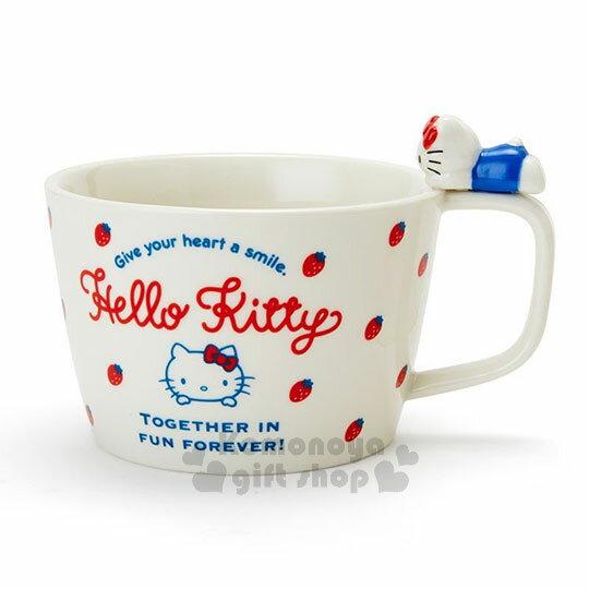 〔小禮堂〕Hello Kitty 造型陶瓷馬克杯附湯匙《白.杯邊玩偶》咖啡杯.寬口杯.湯杯.精緻盒裝 1