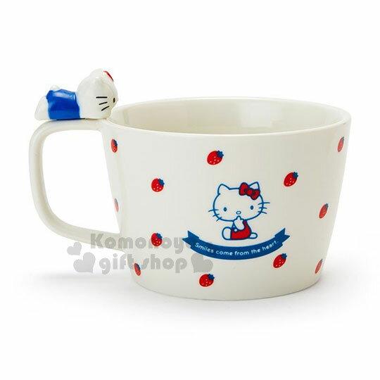 〔小禮堂〕Hello Kitty 造型陶瓷馬克杯附湯匙《白.杯邊玩偶》咖啡杯.寬口杯.湯杯.精緻盒裝 2