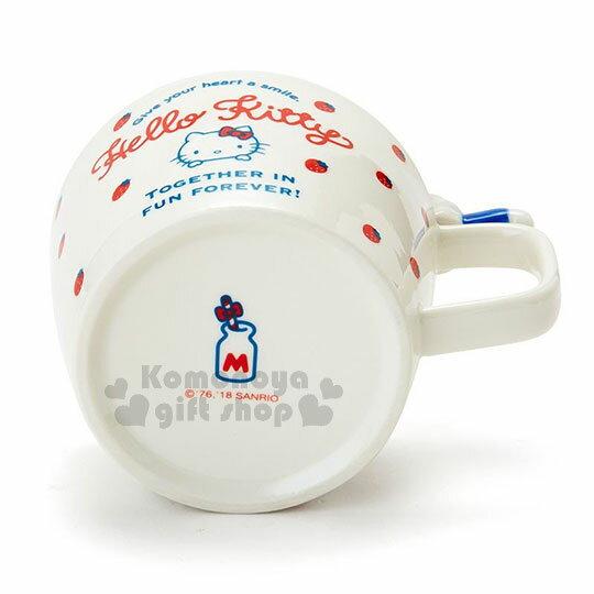 〔小禮堂〕Hello Kitty 造型陶瓷馬克杯附湯匙《白.杯邊玩偶》咖啡杯.寬口杯.湯杯.精緻盒裝 3