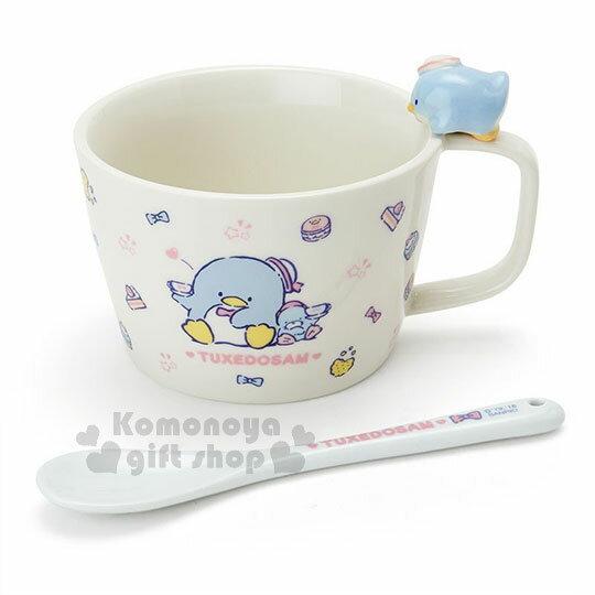 〔小禮堂〕山姆企鵝 造型陶瓷馬克杯附湯匙《白.杯邊玩偶》咖啡杯.寬口杯.湯杯.精緻盒裝 0