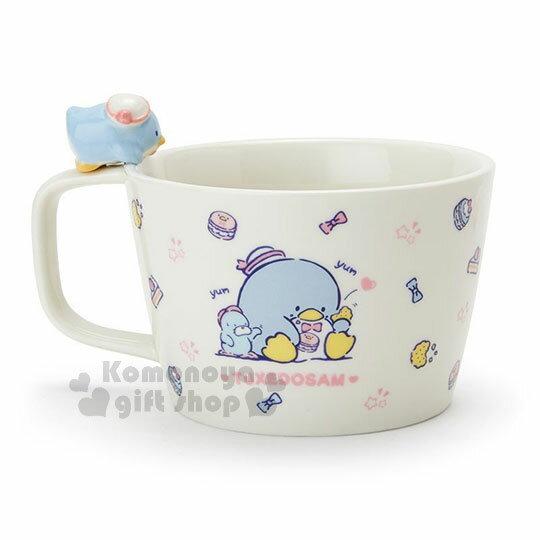 〔小禮堂〕山姆企鵝 造型陶瓷馬克杯附湯匙《白.杯邊玩偶》咖啡杯.寬口杯.湯杯.精緻盒裝 2