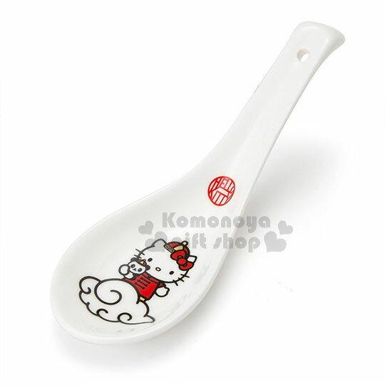 〔小禮堂〕Hello Kitty 陶瓷湯匙《白紅》調羹.精緻盒裝.中華餐館系列 0