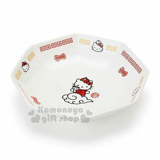 〔小禮堂〕Hello Kitty 八角陶瓷深盤《白紅》沙拉盤.炒飯盤.精緻盒裝.中華餐館系列 0