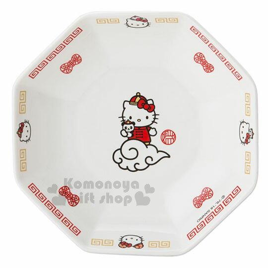 〔小禮堂〕Hello Kitty 八角陶瓷深盤《白紅》沙拉盤.炒飯盤.精緻盒裝.中華餐館系列 1