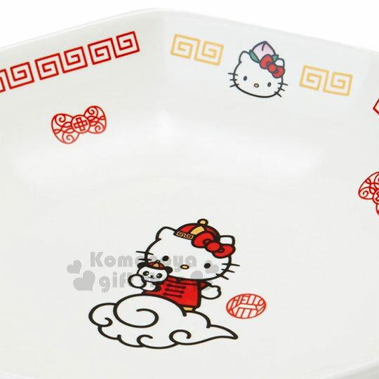 〔小禮堂〕Hello Kitty 八角陶瓷深盤《白紅》沙拉盤.炒飯盤.精緻盒裝.中華餐館系列 2