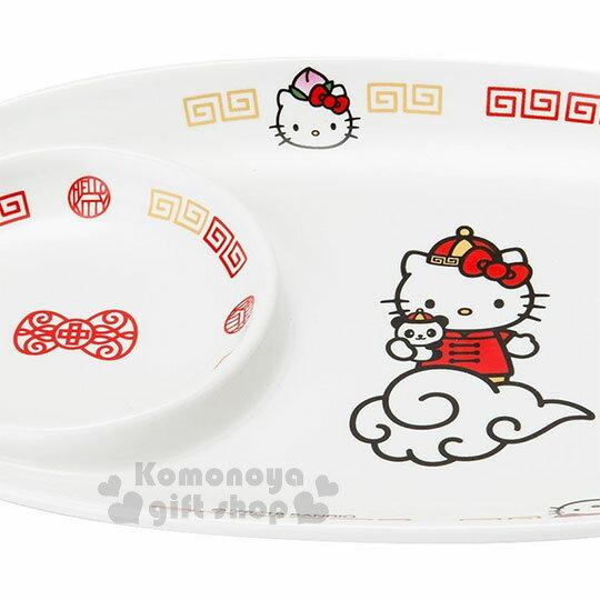 〔小禮堂〕Hello Kitty 橢圓陶瓷餐盤《白紅》點心盤.餃子盤.精緻盒裝.中華餐館系列 2
