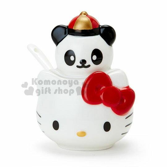 〔小禮堂〕Hello Kitty 造型陶瓷調味罐附匙《白紅》辣椒罐.糖罐.精緻盒裝.中華餐館系列 0