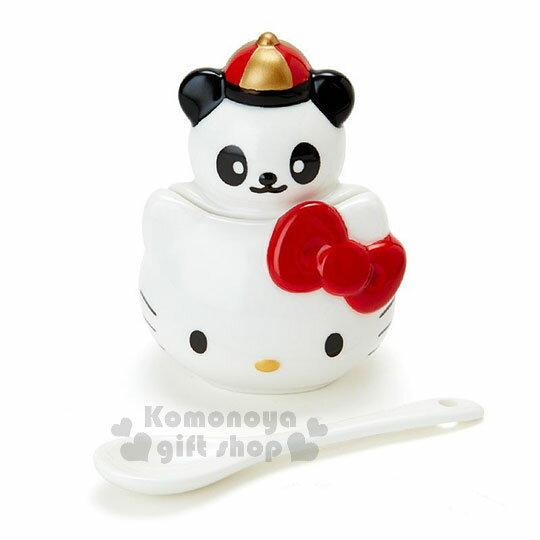 〔小禮堂〕Hello Kitty 造型陶瓷調味罐附匙《白紅》辣椒罐.糖罐.精緻盒裝.中華餐館系列 1