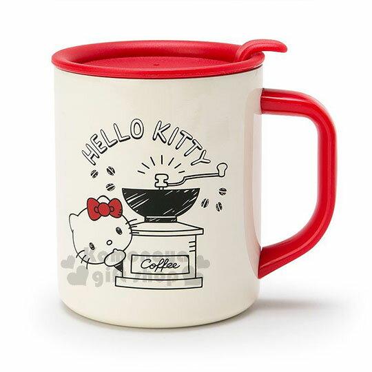 〔小禮堂〕HelloKitty單耳不鏽鋼杯附蓋《米紅.泡咖啡》300ml.保溫杯.精緻盒裝