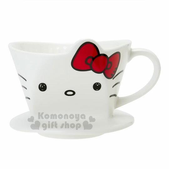 〔小禮堂〕Hello Kitty 造型陶瓷手沖濾杯《白.大臉》咖啡杯.精緻盒裝 0