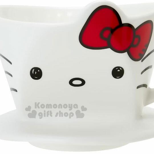 〔小禮堂〕Hello Kitty 造型陶瓷手沖濾杯《白.大臉》咖啡杯.精緻盒裝 3
