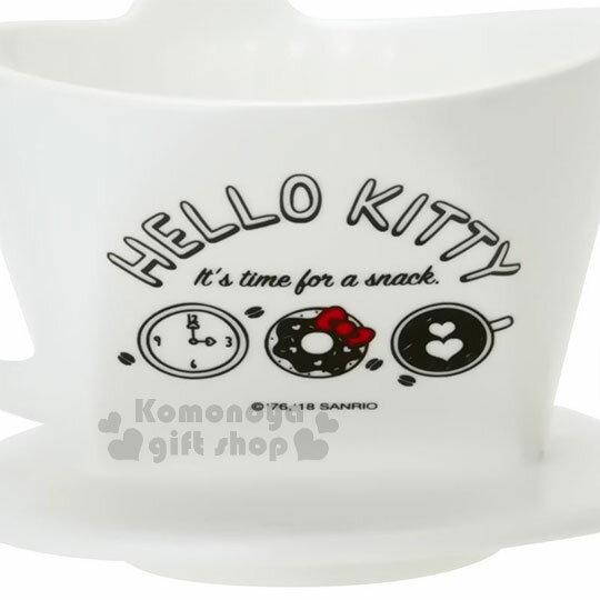 〔小禮堂〕Hello Kitty 造型陶瓷手沖濾杯《白.大臉》咖啡杯.精緻盒裝 4