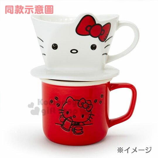 〔小禮堂〕Hello Kitty 造型陶瓷手沖濾杯《白.大臉》咖啡杯.精緻盒裝 5