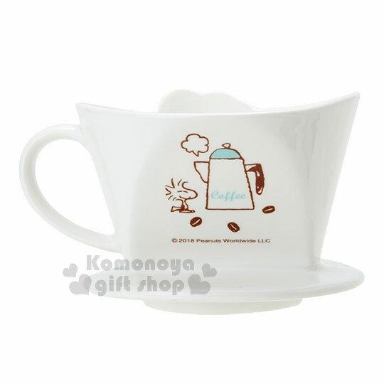〔小禮堂〕史努比 造型陶瓷手沖濾杯《白.大臉》咖啡杯.精緻盒裝 1