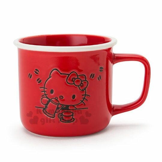 〔小禮堂〕Hello Kitty 陶瓷馬克杯《紅.泡咖啡》寬口杯.咖啡杯.精緻盒裝 0