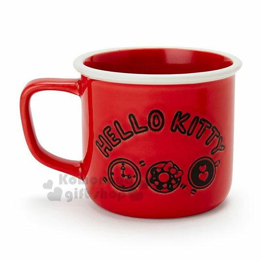 〔小禮堂〕Hello Kitty 陶瓷馬克杯《紅.泡咖啡》寬口杯.咖啡杯.精緻盒裝 1