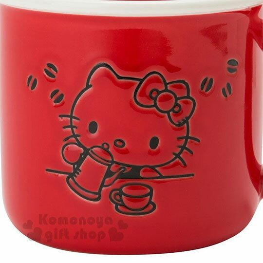 〔小禮堂〕Hello Kitty 陶瓷馬克杯《紅.泡咖啡》寬口杯.咖啡杯.精緻盒裝 3