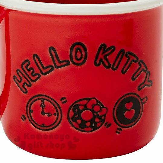 〔小禮堂〕Hello Kitty 陶瓷馬克杯《紅.泡咖啡》寬口杯.咖啡杯.精緻盒裝 4