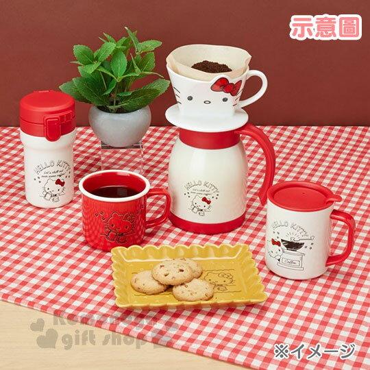 〔小禮堂〕Hello Kitty 陶瓷馬克杯《紅.泡咖啡》寬口杯.咖啡杯.精緻盒裝 6