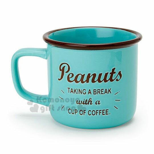 〔小禮堂〕史努比 陶瓷馬克杯《綠.拿杯子》寬口杯.咖啡杯.精緻盒裝 1