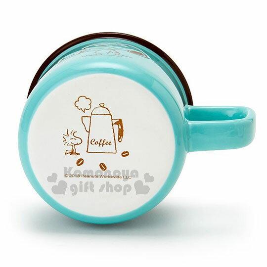 〔小禮堂〕史努比 陶瓷馬克杯《綠.拿杯子》寬口杯.咖啡杯.精緻盒裝 2