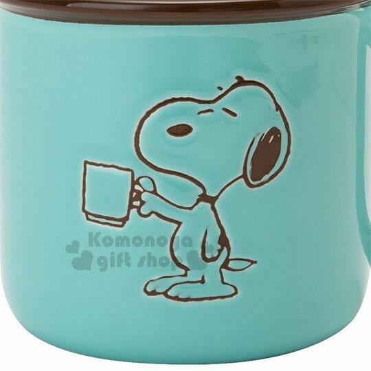 〔小禮堂〕史努比 陶瓷馬克杯《綠.拿杯子》寬口杯.咖啡杯.精緻盒裝 3