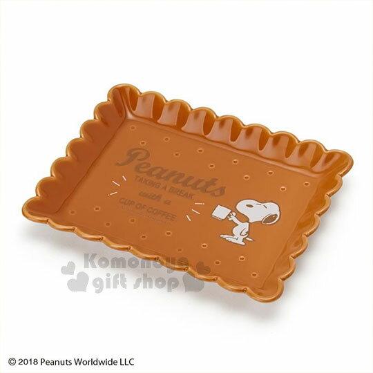 〔小禮堂〕史努比 餅乾造型陶瓷方盤《棕》裝飾盤.點心盤.咖啡盤.精緻盒裝 0