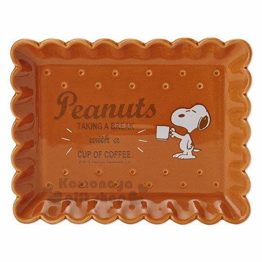 〔小禮堂〕史努比 餅乾造型陶瓷方盤《棕》裝飾盤.點心盤.咖啡盤.精緻盒裝 1