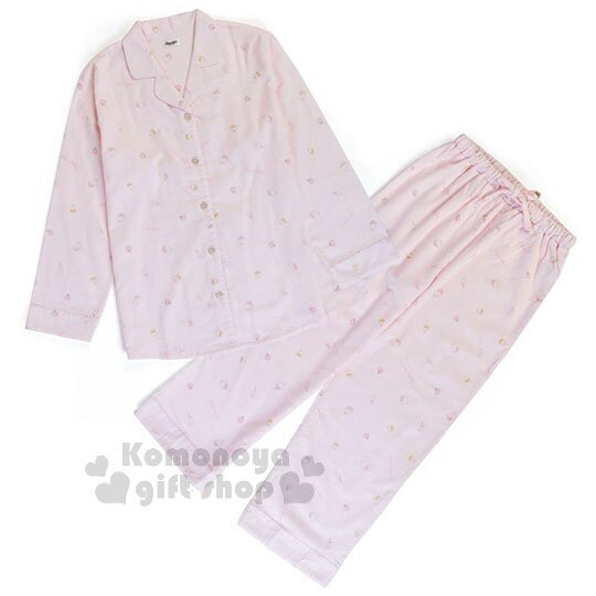 〔小禮堂〕Hello Kitty 絨毛長袖居家服套裝《淡粉.滿版.大臉》襯衫式.睡衣.休閒服