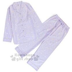 〔小禮堂〕雙子星 絨毛長袖居家服套裝《淡紫.滿版.月亮》襯衫式.睡衣.休閒服