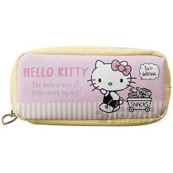 〔小禮堂〕Hello Kitty 皮質拉鍊筆袋《粉黃.條紋.拉車》收納包.化妝包