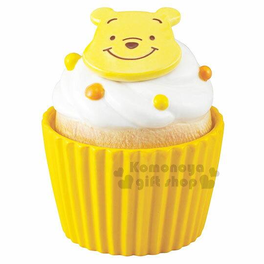 〔小禮堂〕迪士尼 小熊維尼 造型陶瓷收納罐《黃.杯子蛋糕》置物罐.糖果罐 0