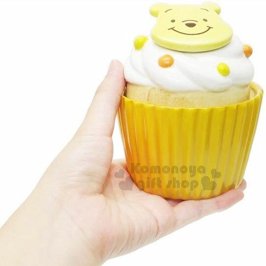 〔小禮堂〕迪士尼 小熊維尼 造型陶瓷收納罐《黃.杯子蛋糕》置物罐.糖果罐 2