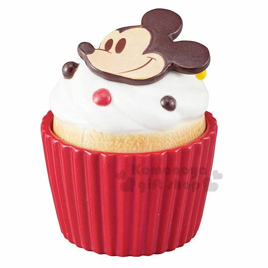 〔小禮堂〕迪士尼 米奇 造型陶瓷收納罐《酒紅.杯子蛋糕》置物罐.糖果罐 0
