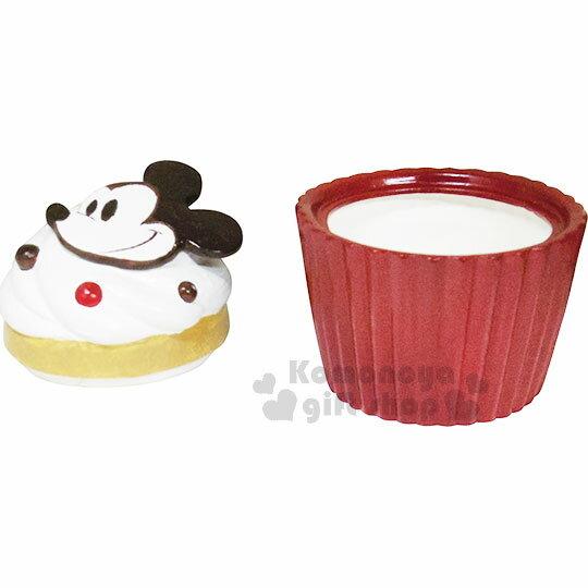 〔小禮堂〕迪士尼 米奇 造型陶瓷收納罐《酒紅.杯子蛋糕》置物罐.糖果罐 1