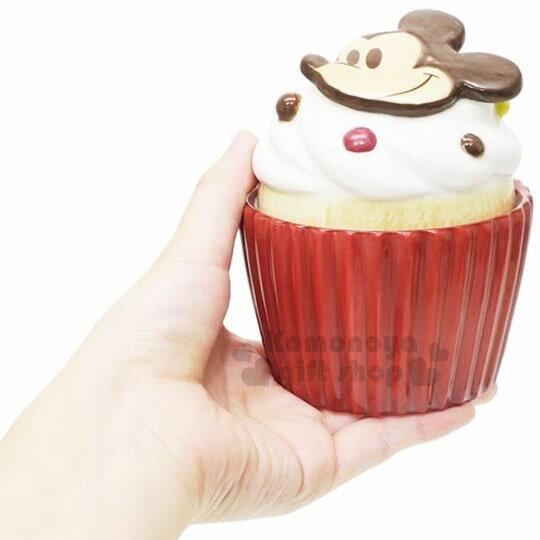 〔小禮堂〕迪士尼 米奇 造型陶瓷收納罐《酒紅.杯子蛋糕》置物罐.糖果罐 2